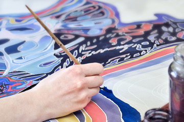 Hand painting on fabric