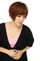 Young woman with stomach issues ,isolated