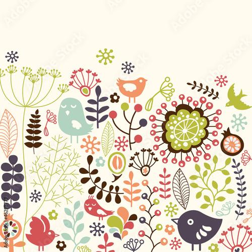 kolorowa-kwiecista-karta-z-malymi-ptakami