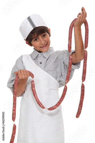 Child with sausage