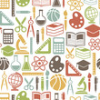 seamless pattern with colorful school icons on white