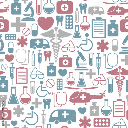 seamless background with medical icons