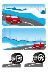 自動車,雪道,スリップ,注意,雪国,冬,タイヤ,道路