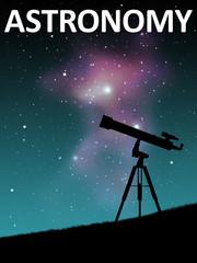 Telescope with astronomy text