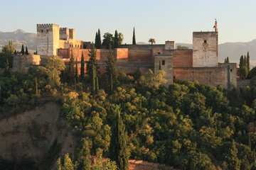 view of Alcazaba from Albayzin, Granada, Spain