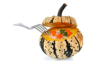 Patidou fourré avec riz et carottes