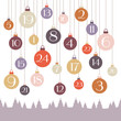 Advent Calendar Hanging Christmas Balls Retro Colors Trees