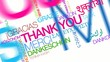 International Thank you gracias word tag cloud animation