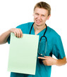 smiling doctor hold green paper