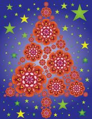 Sapin de Noël en Mandalas Rouge avec Etoiles et Ciel Nuit