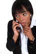 African woman on the phone