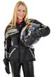Junge Frau in Motorradkleidung