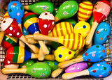 colorful maracas in a shop