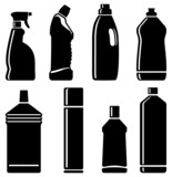 Silhouettes of bottles with means for cleaning