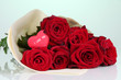 Beautiful bouquet of red roses with valentine