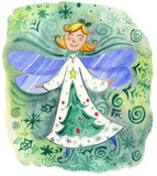 Cute Christmas Elf watercolor