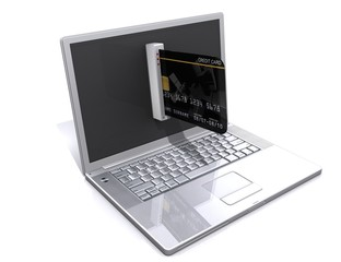 laptop and credit card, E-commerce concept
