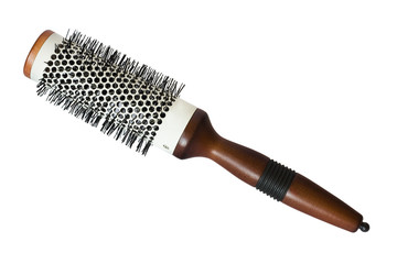 Modern salon hairbrush isolated on white