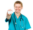 doctor holding a card