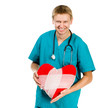 Male doctor with a heart