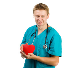 Male doctor with a heart in his hands