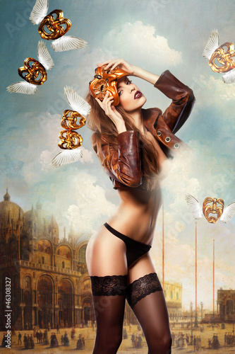 beautiful woman in mask on venice background