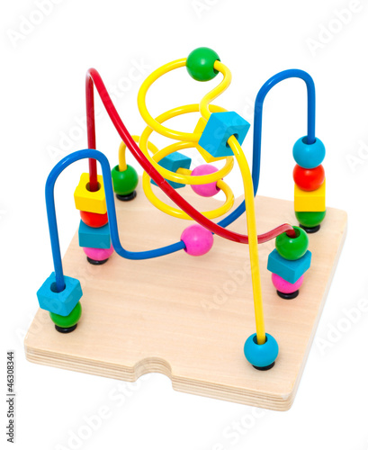 Child counting learning multi color wood bead toy