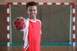 Handball player in front of goal