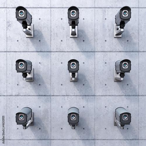 Leinwandbild Motiv nine security cameras