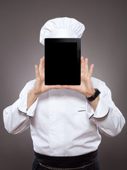 Chef behind the digital tablet