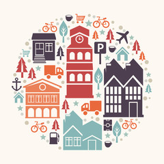 Vector city concept illustration