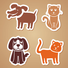 Vector funny dogs and cats
