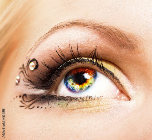 Close-up of colourful human eye