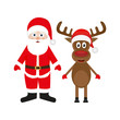Santa Claus and Christmas reindeer on white background
