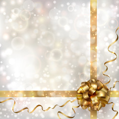 Abstract Christmas background with golden bow