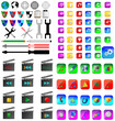 color and black glass square movie icons