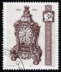 Postage stamp Austria 1970 Bracket Clock, 1720-60