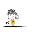 Funny girl sketch for your design