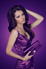 Elegant lady woman in dress with bag. Jewelry and Beauty. Fashio