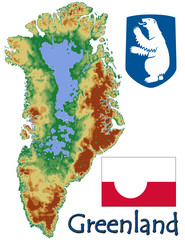 Greenland national emblem map symbol motto