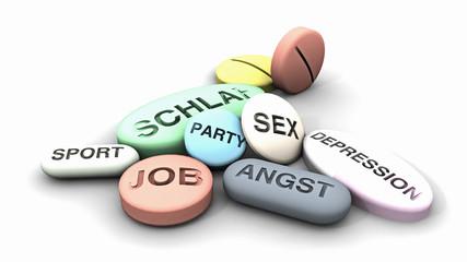 Pillen, Medikamente für Job, Sex, Schlaf…