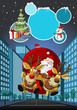 Santa Claus on sleigh with reindeer flying over city