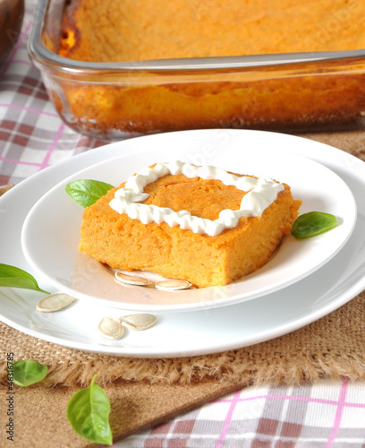 Pumpkin pudding with sour cream by timolina, Royalty free stock photos ...
