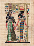 Scene from egyptian mythology painted on papyrus