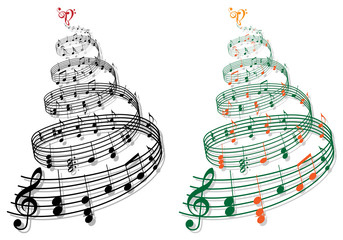 tree with music notes, vector