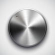 Music button with metal texture, shadow for web interface