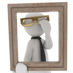 Brille im Rahmen