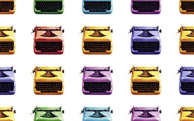 Vintage Typewriter Multiplied on a Seamless Tile