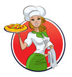 Woman pizza cook.