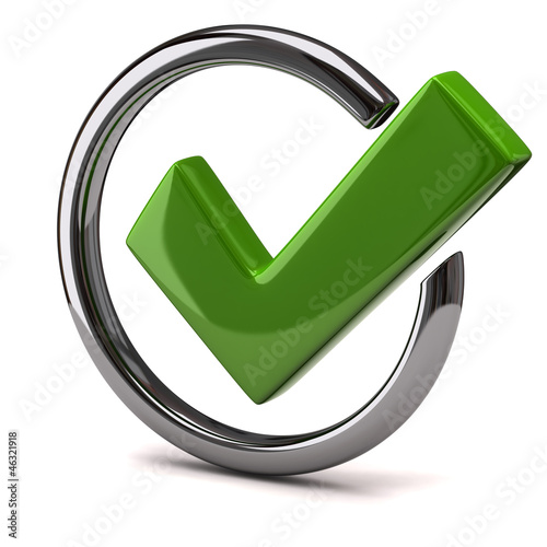 Green tick sign icon 3d